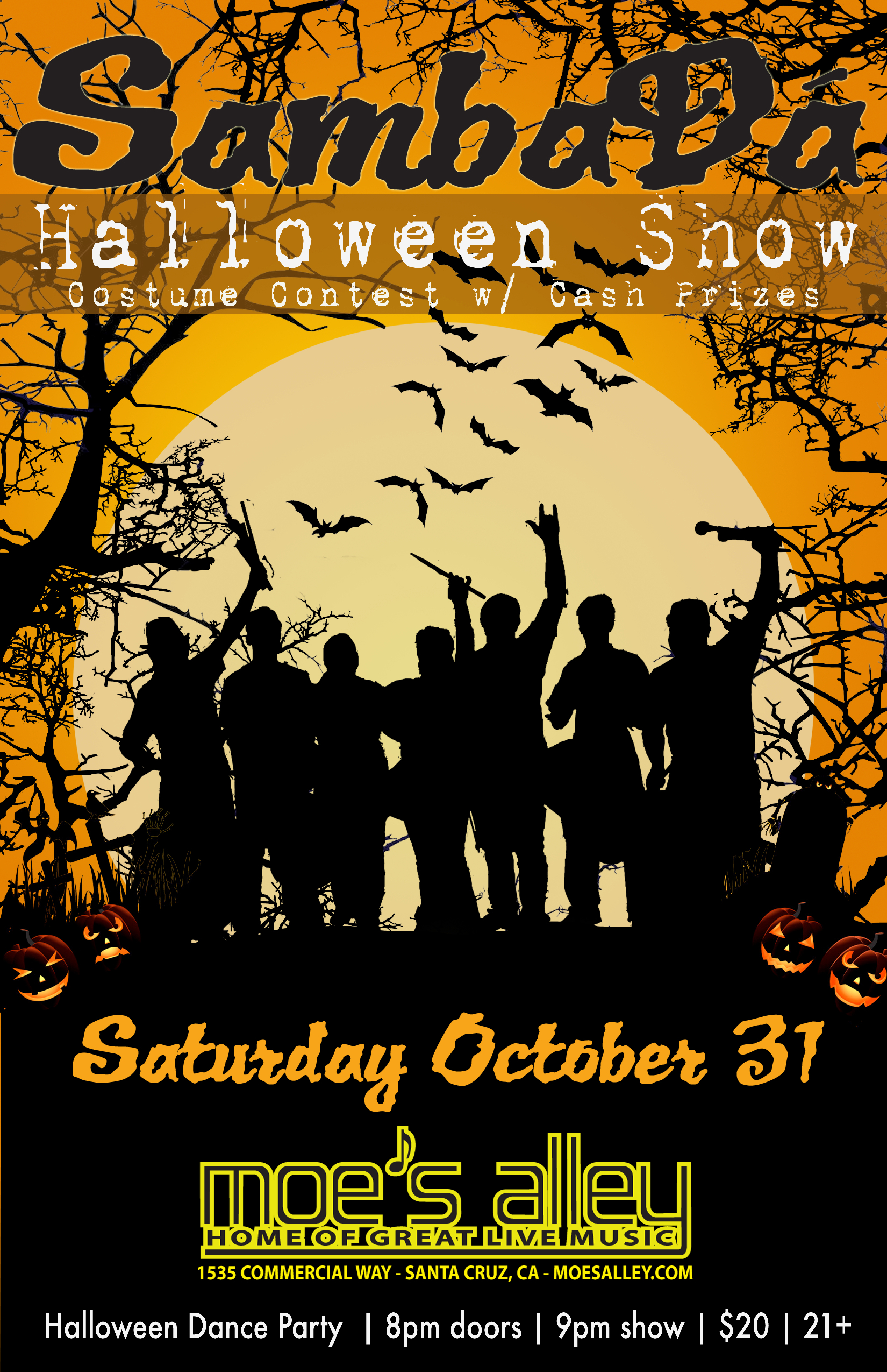 Sat. Oct. 31st – Halloween – Moe's Alley – Santa Cruz, Ca