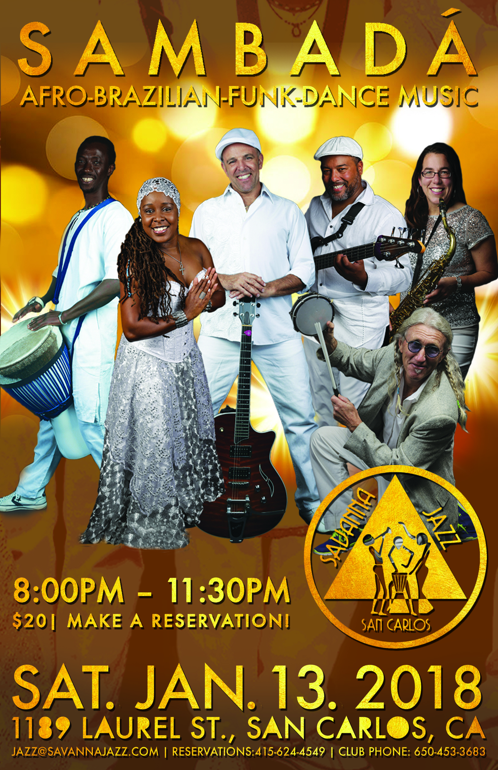 SAT. JAN.13 – SAVANNA JAZZ – SAN CARLOS, CA
