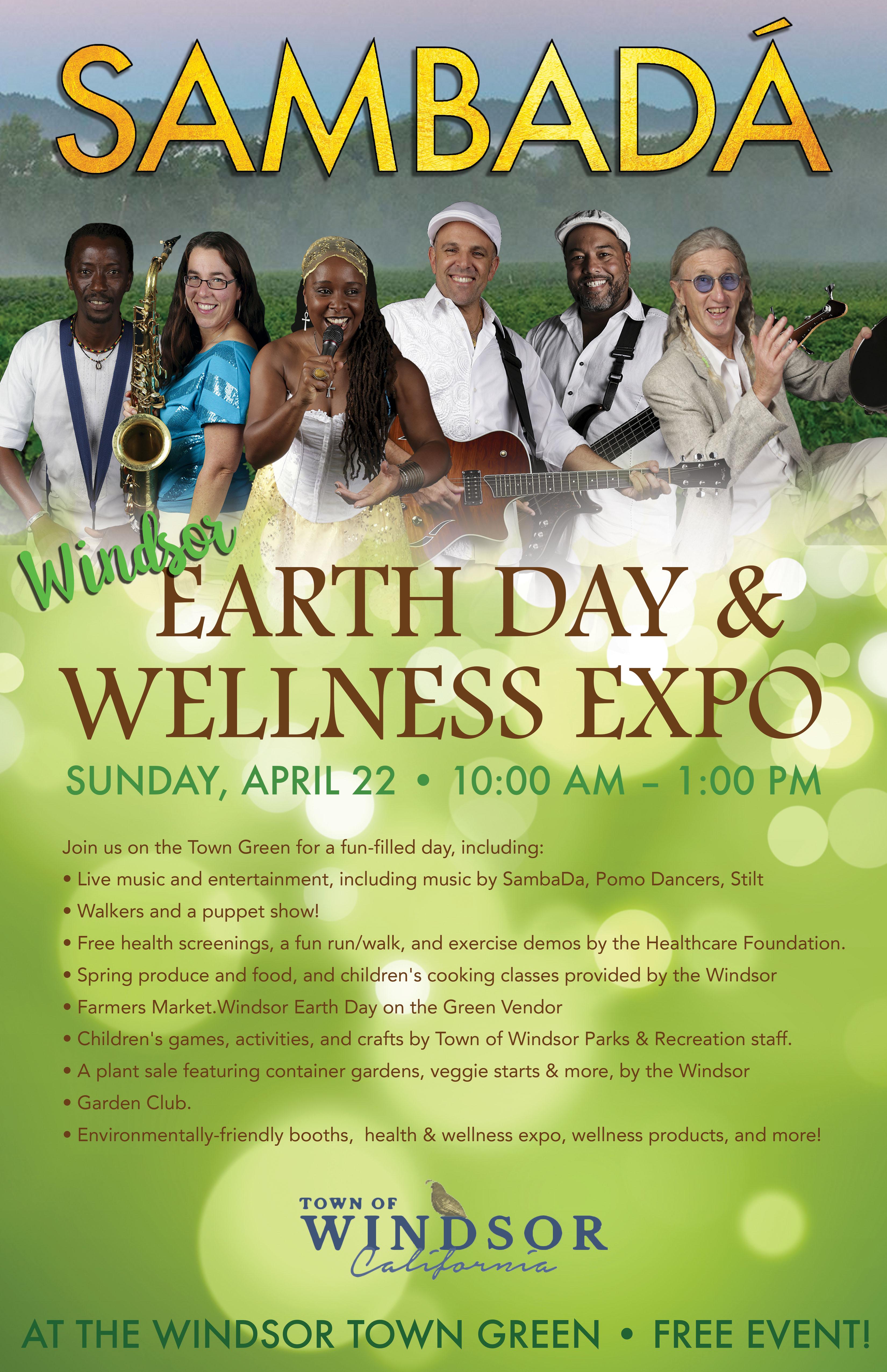 SUN.APR.22 – EARTH DAY & WELLNESS EXPO – WINDSOR, CA