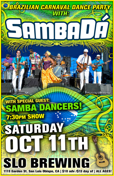 BRAZILIAN CARNAVAL at SLO BREW SAT. OCT 11th!