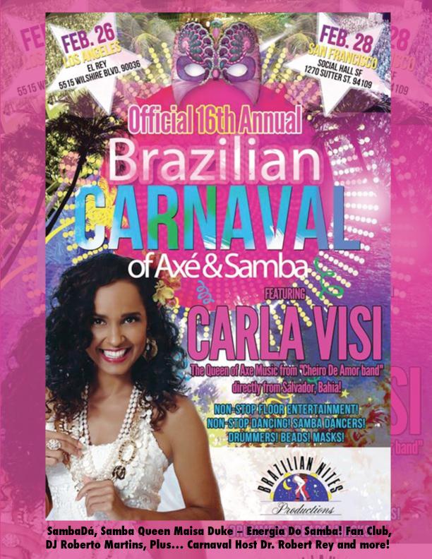 SUN. FEB. 28TH – 16th ANNUAL BRAZILIAN CARNAVAL OF AXÉ & SAMBA – SAN FRANCISCO, CA