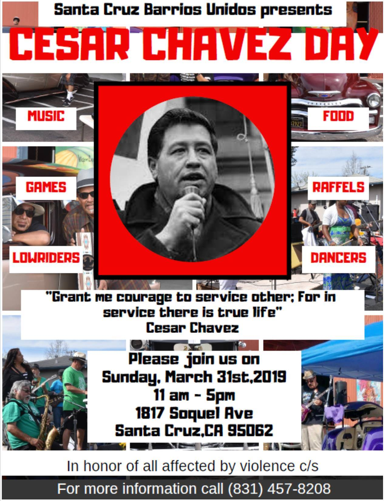 SUN.MAR.31 – CESAR CHAVEZ DAY @ BARRIOS UNIDOS – SANTA CRUZ, CA
